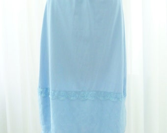 Vintage Lorraine Blue Skirt Slip French Knot Sheer Chiffon and Nylon Small