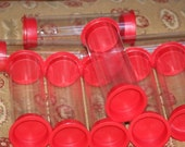 10 Large Clear Plastic Packaging tubes with red caps 6 3/4""
