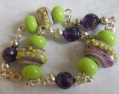 Beaded Bracelet, Amethyst, Lampwork, Lavender, Green, Purple, Silver, Sterling, Silver Filled, 7.5 Inches, Unique, Art Glass, Artisan Beads