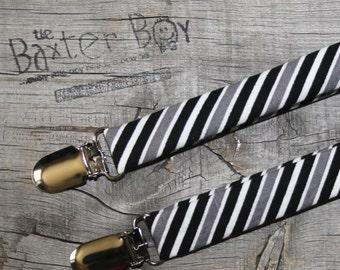 Ready-to-ship --- Black, White & Grey diagonal stripe little boy suspenders - photo prop, wedding, ring bearer, accessory