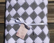 Gray and white checkered crocheted baby blanket. Crib sized for baby or for lap throw. Entrelac crochet  blanket