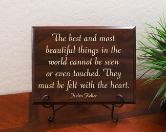 """Decorative Carved Wood Sign with Quote """"The best and most beautiful things in the world cannot be seen... Helen Keller"""" 12""""x9"""" Free Shipping"""