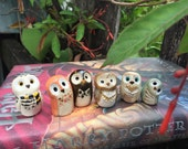 RESERVED FOR HEATHER: Clay Horned Owls & 3 Elf Owls Harry Potter Inspired Owlery