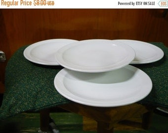 Save 10% 4 - Pyroceram Tableware - White - 6 1/4  - Bread and Butter Plates
