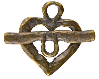 Jewelry Findings-Casting-23x28mm Hammered Toggle & 8x32mm Heart-Antique Bronze-Quantity 1