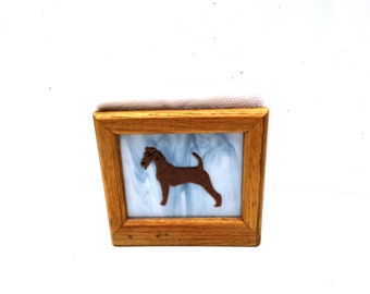 Wood Enamel Glass Napkin Holder, Dog Lover Vintage Kitchen Decor, Irish Setter Napkin Holder