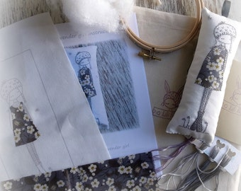 embroidery kit grey lavender girl
