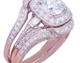14k Rose Gold Round Cut Diamond Engagement Ring And Bands Halo Filigree 2.50ctw H-SI1 EGL USA