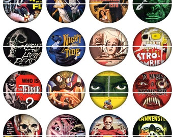 "Horror Movie Magnets, Horror Movie Pins, Vintage Horror Movie Posters, 1"" Flat Backs or Hollow Backs, Badges, Cupcake Pics, 12 ct,"