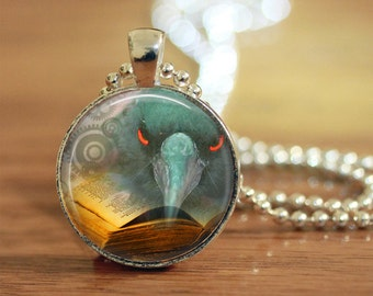 Raven Crow Pendant, Womens Necklace, Handmade Jewelry, Gift for Her, Steampunk Raven, Raven Crow Pendant