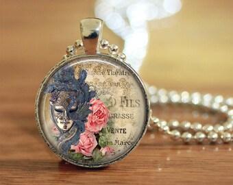 Mardi Gras Mask Pendant Necklace, Custom Pendant, Carnival Jewelry, Gift for Her, Mask Pendant