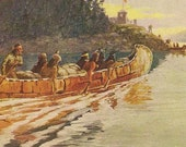 Canadian Artist John Innes Fur Canoe Primitive Transportation in the West  – Antique Art Postcard 1906 Troilene Indian Series