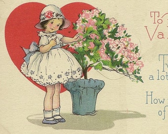 Vintage Valentine's Day Postcard Young Girl Gathers Pink Flowers For Her Sweetheart – Stecher Litho