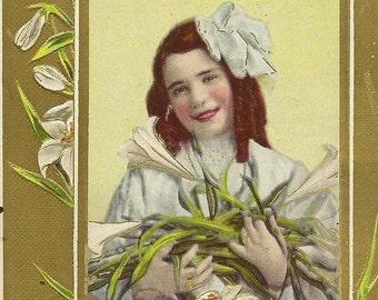Young Girl and Easter Lilies Embossed Vintage Easter Postcard – Julius Bien 1910 Lovely Spring Floral Display