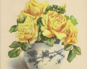 Yellow Roses in Blue and White Vase – Vintage Birthday Postcard Unused