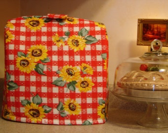 Arti  KitchenAid mixer COVER, Red Plaid with SUNFLOWERS  Tilt Head 4.5 - 5 Qt.