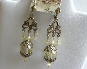 Yellow Chandelier Earrings, French Victorian, Jonquil,