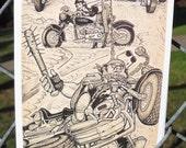 BIKERS Postcard by David Jablow Doodle Pad Art 5x7 Glossy