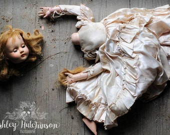 8x10 Signed Archival Photographic Print of a Beautiful Decapitated Headless Creepy Doll in Fancy Dress laying on Abandoned House Floor