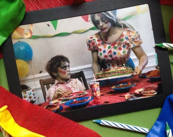 5x7 zombie birthday party greeting card primary colors weird folded print photo photography unique gore