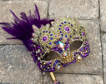 Swarovski Crystal Purple Gold Lace Pearl Feather Masquerade Mask with Handle