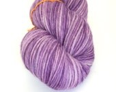 Light purple hand-dyed worsted weight yarn   Round Table Yarns Lancelot in Dindrane