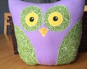 Cute Plush Owl - purple with green paisley - Stuffed Animal Pillow