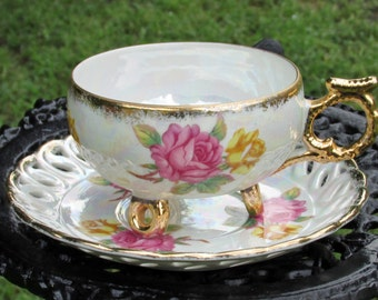 Vintage Royal Halsey Cup and Saucer Pink and Yellow Roses Gold Gilding Lipper and Mann