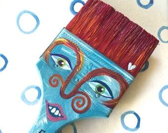 Paintbrush People Magnet Blue