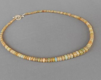Ethiopian opal welo necklace silver sterling clasp / 17.75  inchs long / silver 925 / gems 64 CTS