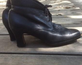 80's Black Spool Heel Ankle Booties 6 Soft Grunge Festival
