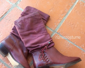 Vintage Raspberry Suede lace up tall 80's Pirate Boots 6.5