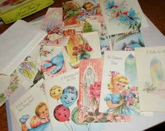 1950s Box of 15 Unused Assorted Scripture Text Greeting Cards and Envelopes
