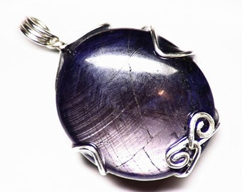 Black and Gold Star Sapphire Crystal (81 ct) Pendant in Sterling Silver