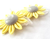 Cute Yellow Flower Bobby Pins Tsumami Kanzashi Folded Fabric Origami Hair Flowers