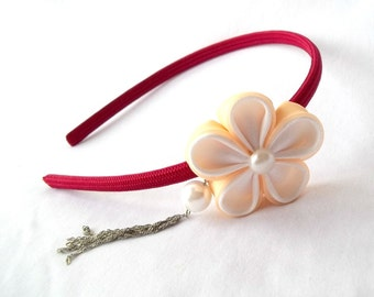 Red and Peach Flower Tassel Headband Tsumami Kanzashi Fabric Origami