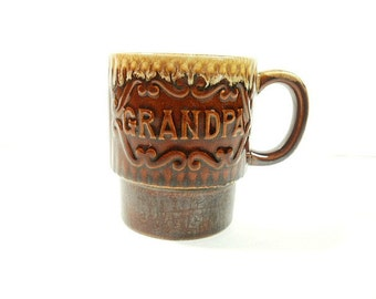 Vintage Grandpa Coffee Cup Mug, Japan Brown Pottery Cup