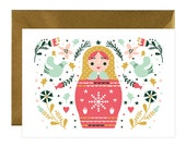 Christmas greetings cards - holiday greetings card- holiday card - greetings cards - Russian nesting doll - Matryoshka - Matroshka