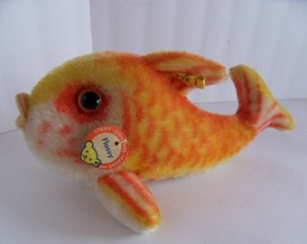 Steiff fish Flossy all IDs  large mohair made in Germany 1431