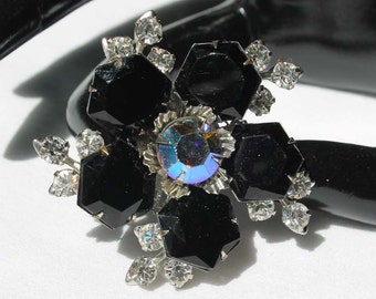 Vintage Jet Black, Crystal and Starlight AB Rhinestone Brooch