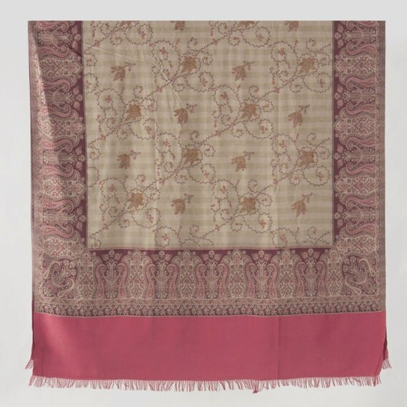 Kashmir Wool Shawl/Stole. Regency Style. Pink/Beige Wool, Paisley Hand Embroidered.