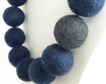 Navy Felt Necklace - Dark Blue and Gray Chunky Felt Ball Necklace - Navy Statement Necklace - Chunky Felt Necklaces - Felted Ball Jewellery