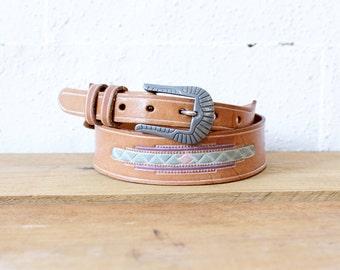 Southwest Belt by Leegin • 80s Belt • Western Belt with Silver Belt • Boho Belt • Tan Leather Belt • Made in USA | BT255