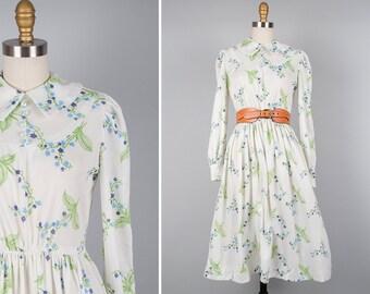 Peter Pan Collar Dress S • 70s Dress • White Floral Dress • Prairie Dress • Long Sleeve Dress • Floral Midi Dress • Flare Dress | D857