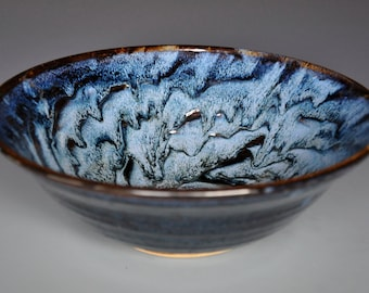 Turbulent Blue Ceramic Bowl Pottery Bowl Pasta Bowl Salad Bowl Pottery Serving Bowl D