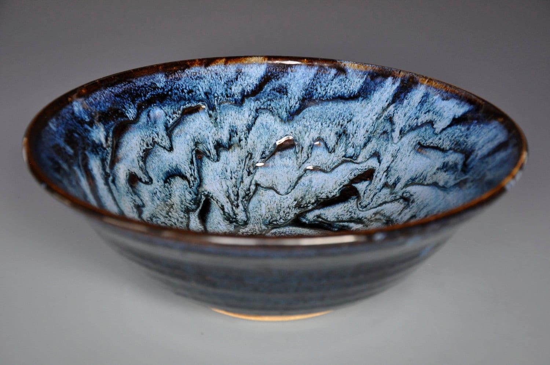 Turbulent Blue Ceramic Bowl Pottery Bowl Pasta Bowl Salad Bowl