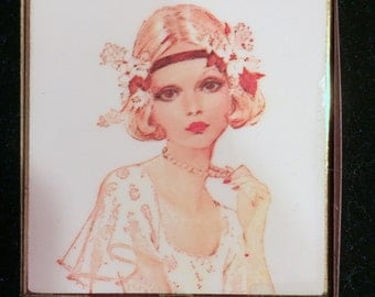 Flapper Compact Mirror / Vintage Lady / Hand Mirror / Josephine Currie / LAST ONE!