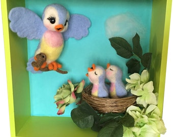 Bird Feeding Baby Birds Art Shadowbox Diorama Nursery Art Soft Sculpture Lefton Bluebird Inspired Felted Bluebird Family Mother Bird Baby
