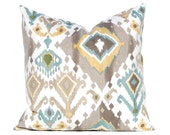 Ikat Pillow Covers - Decorative Pillow Covers -Taupe Pillow Covers - Deep Seafoam and Gold Accents - Tan Pillow Covers - Designer Pillows
