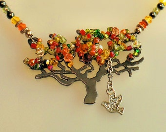 Hand Made necklace, Fall necklace, Autumn necklace, Tree, Hematite, Fall colors, Beads, Silver tree necklace, Colored leaf necklace, Bird